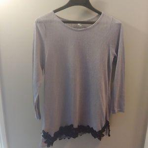 3/4 Purple Blouse with Black Lace Trim